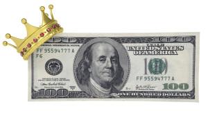 dollar wearing crown