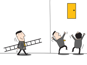 Business man carrying ladder to help his team to reach the high door. Business concept in leadership who can find easy way or strategy to reach to the goal or success.