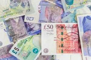 British pounds banknotes background